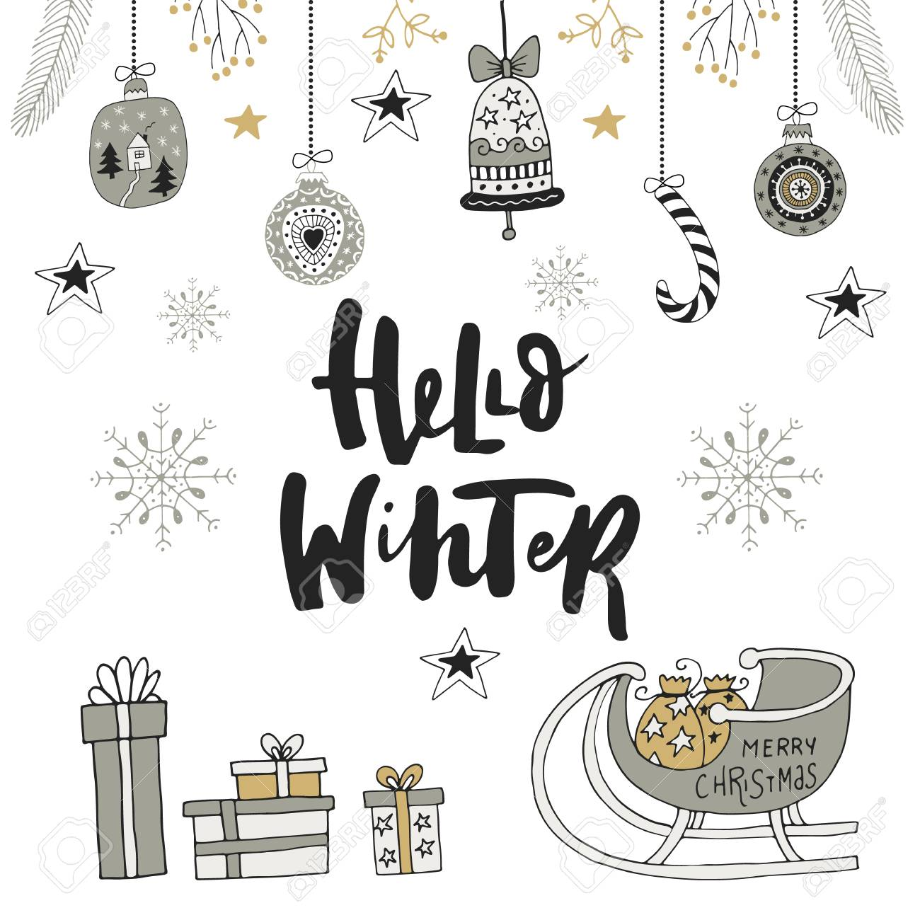 hello winter hand drawn christmas card with lettering and decorations cute new year clip