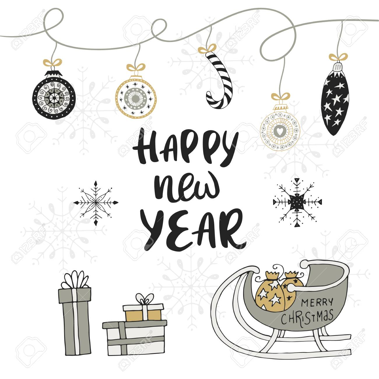 happy new year hand drawn christmas card with lettering and decorations cute new year