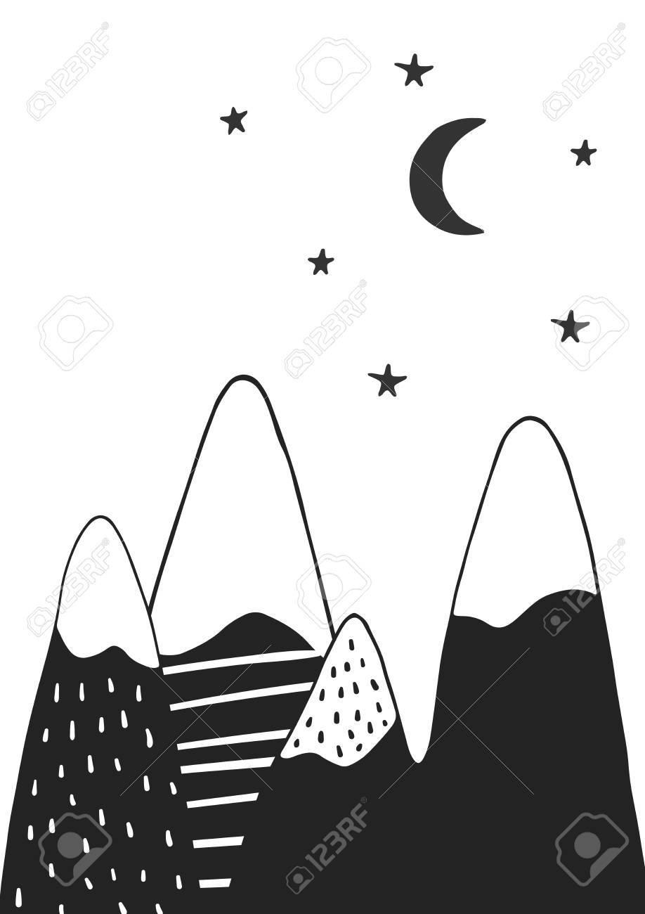 手描き山星と月北欧風のかわいい手描き下ろし保育園ポスターモノクロの