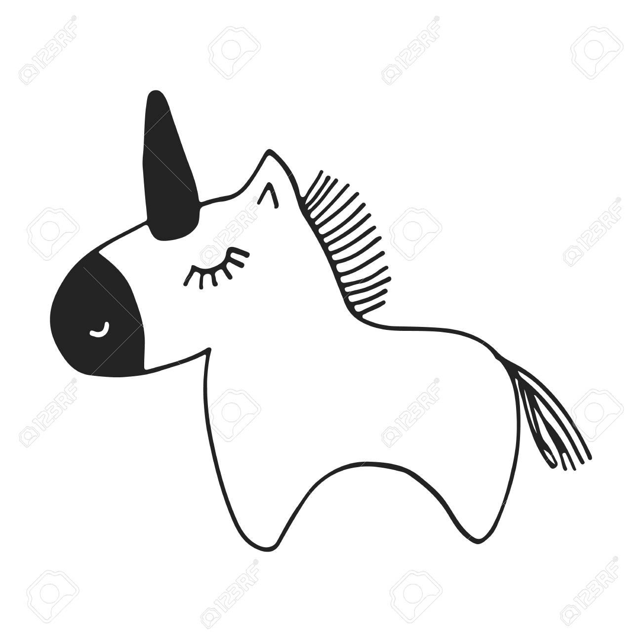 北欧スタイルでユニコーンとかわいい手描き下ろし保育園ポスター モノクロのベクター イラストです のイラスト素材 ベクタ Image