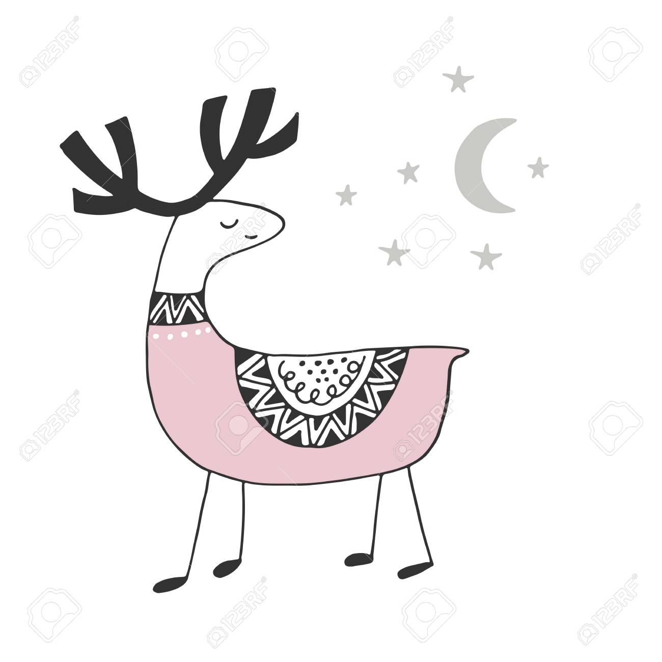 北欧スタイルの鹿とかわいい手描き下ろし保育園ポスター。モノクロの