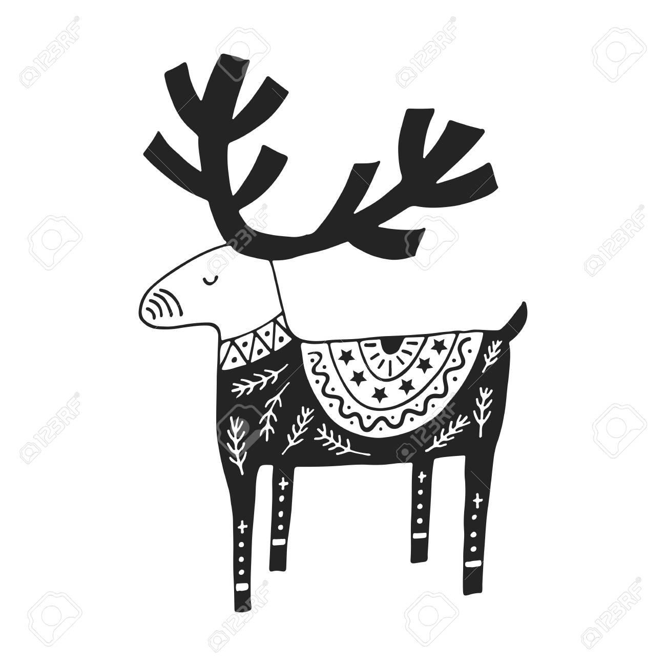 北欧風のかわいい手描き下ろし保育園ポスター。モノクロのベクター