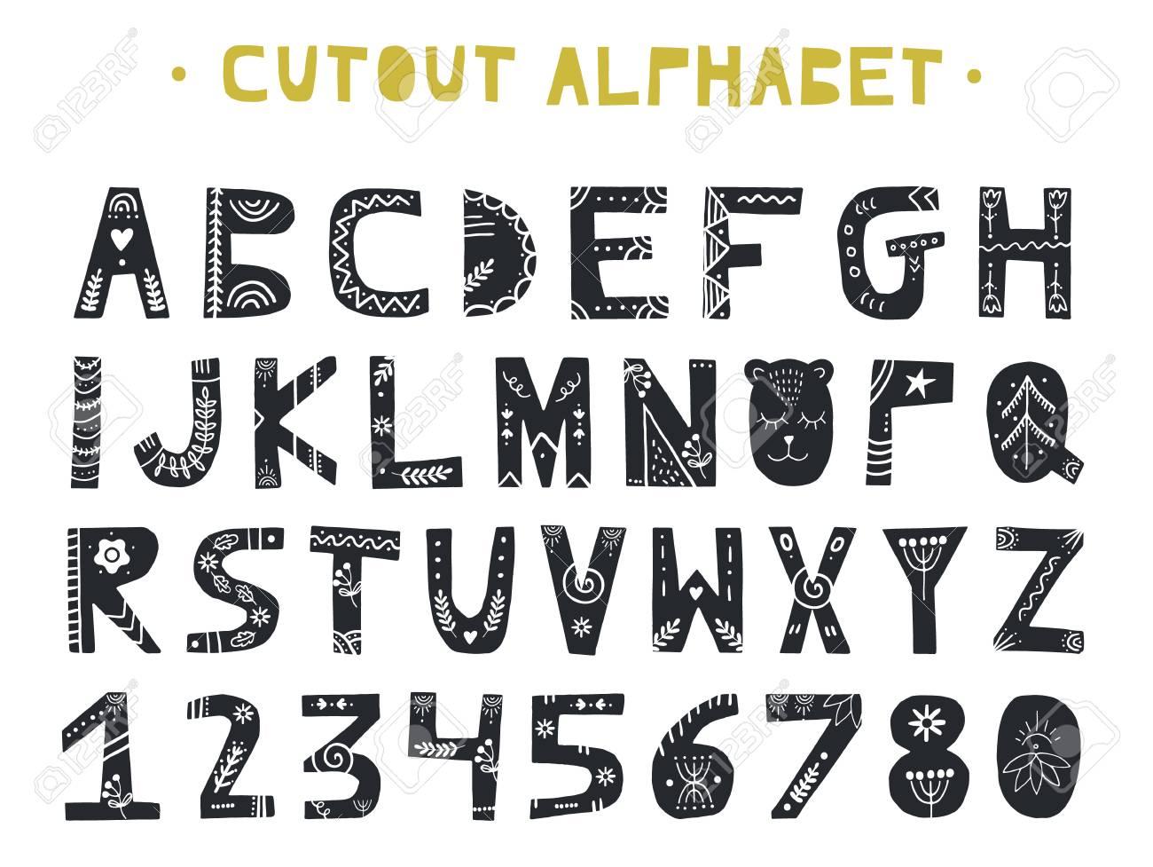 Cutout ABC - Latin alphabet. Unique handmade letters folk art ornament in scandinavian style. Vector illustration. - 93015671