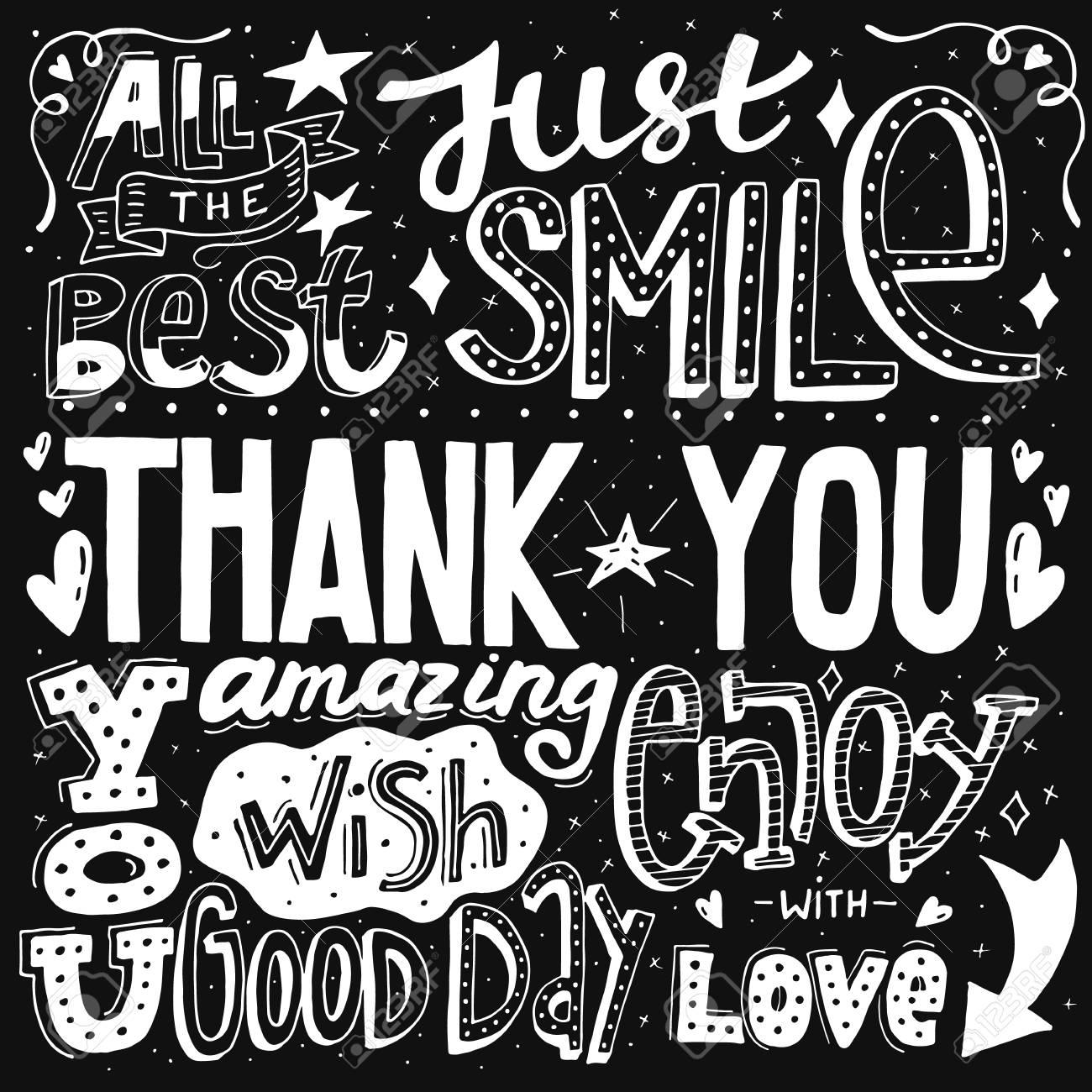 Nico Obrigado Com Mão Desenhada Letras E Caligrafia Com Muitas Frases E Palavras Ilustração Em Vetor Preto E Branco