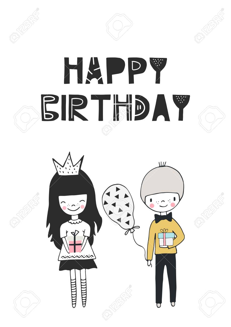 Happy Birthday Cute Hand Drawn Nursery Birthday Poster With