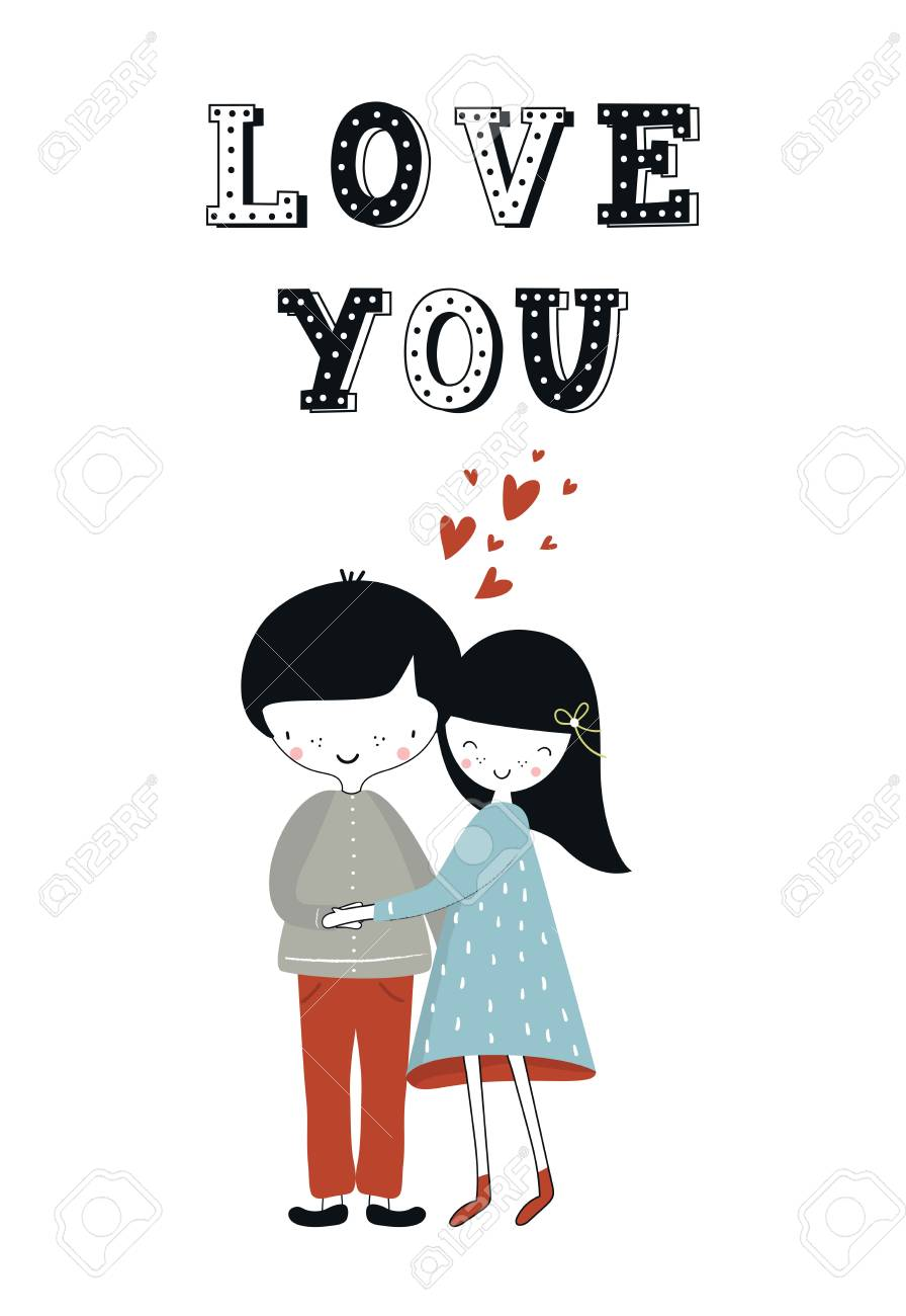 Love You Cute Hand Drawn Nursery Poster With Little Girl And