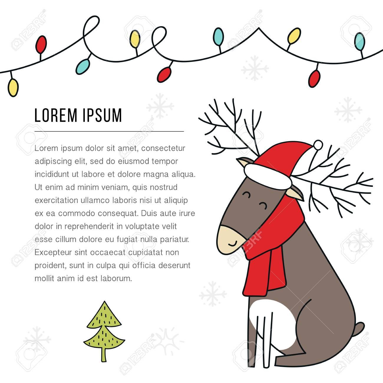 new year banner template christmas deer in santa hat cute
