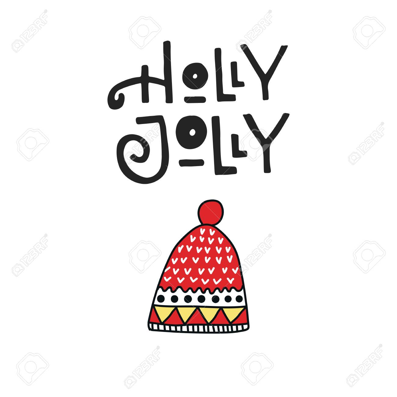 Holly Jolly - Christmas And New Year Card With Hand Drawn Lettering ...