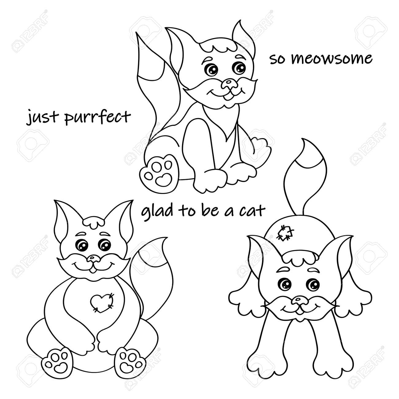 Set of nice cats silhouette for coloring book vector illustration - 166203437