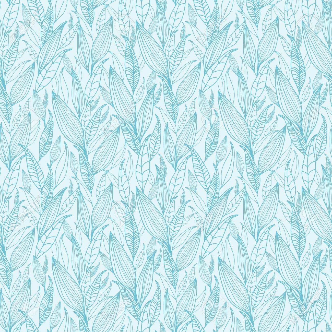 Blue Line Art Leaves Seamless Pattern Background Stock Vector - 16356457