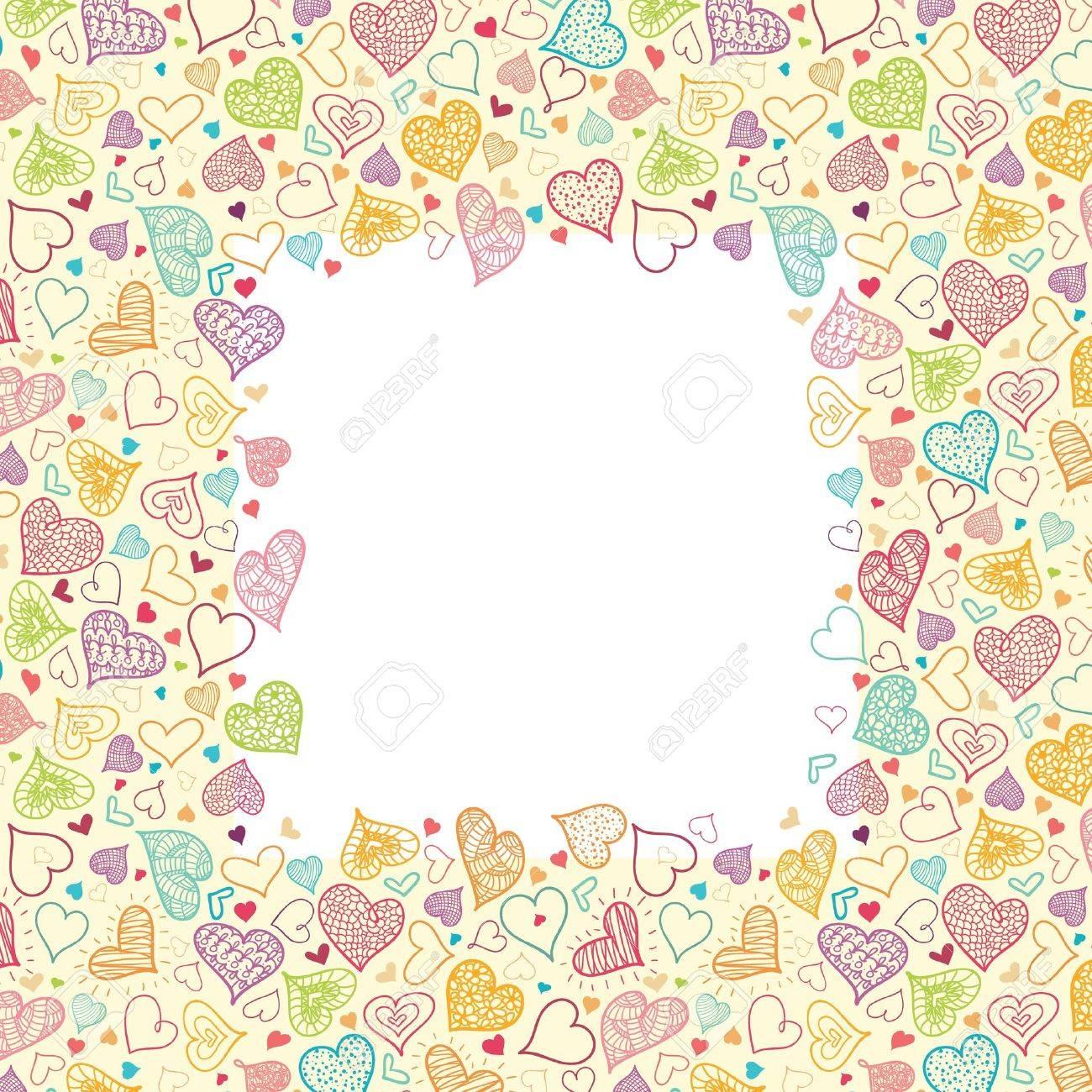 Doodle Hearts Vertical Frame Background Border Stock Vector - 16446304