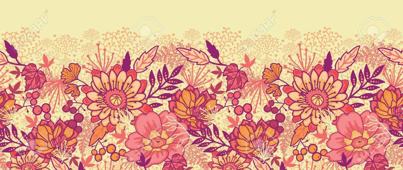 Fall Flowers Horizontal Seamless Pattern Background Border Stock Vector