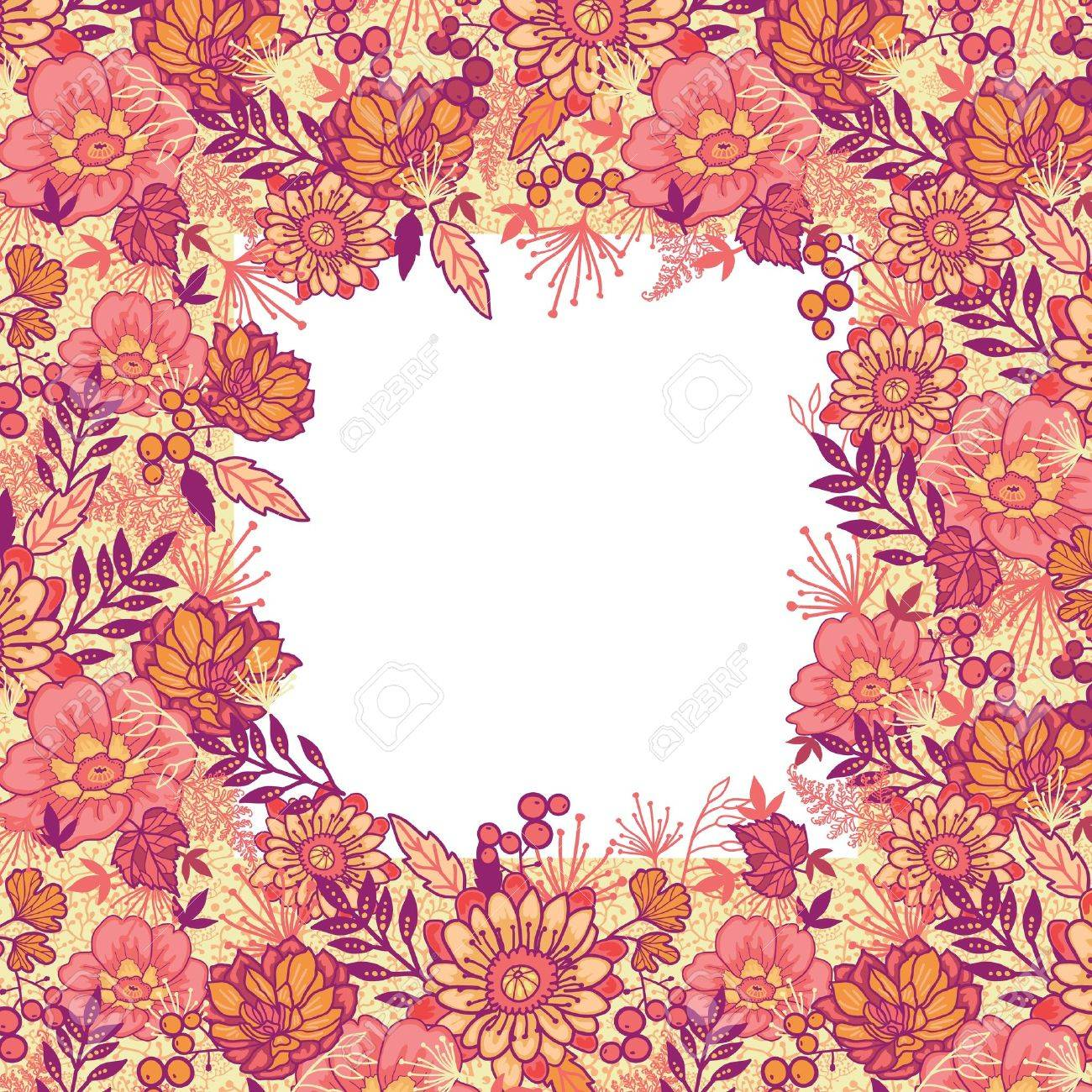 Fall Flowers Frame Seamless Pattern Background Border Stock Vector
