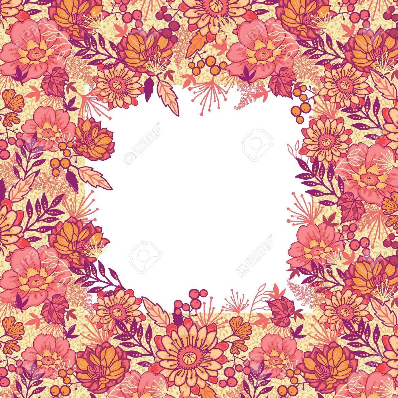 Fall flowers frame seamless pattern background border Stock Vector - 16446382