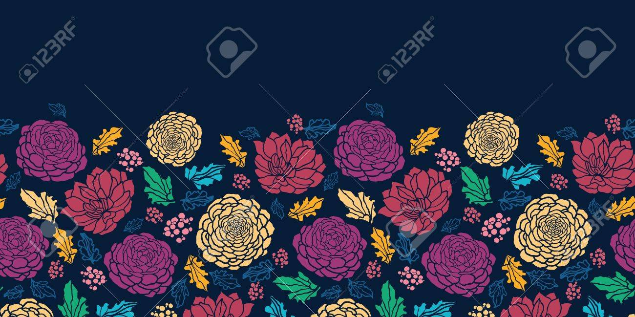 Colorful vibrant flowers on dark horizontal seamless pattern Stock Vector - 16446347