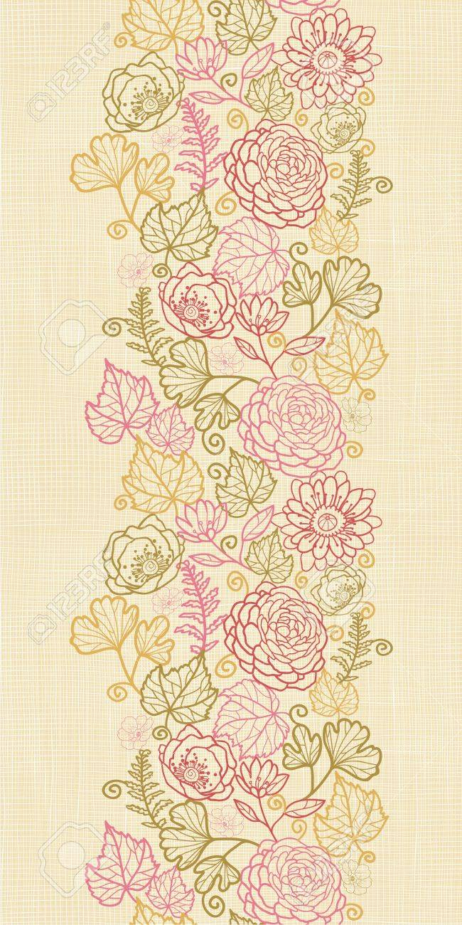 Textile flowers vertical seamless pattern background border Stock Vector - 16446412