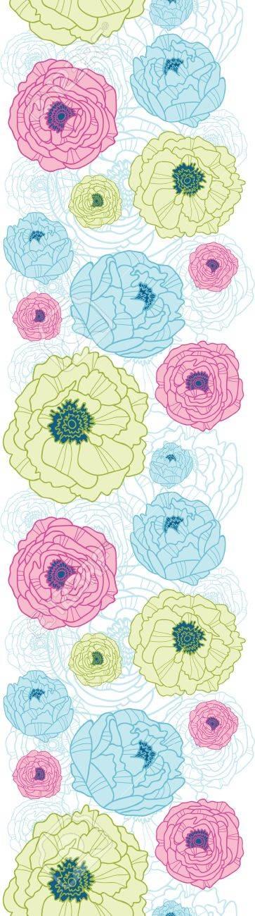 Lovely flowers vertical seamless pattern background border Stock Vector - 16564826