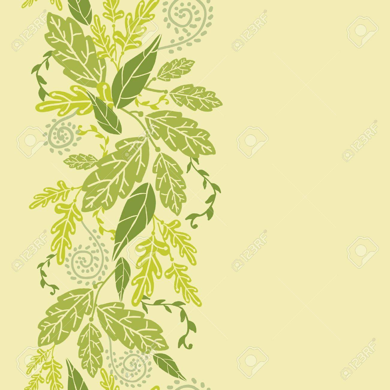 Green Leaves Vertical Seamless Pattern Background border Stock Vector - 16564755
