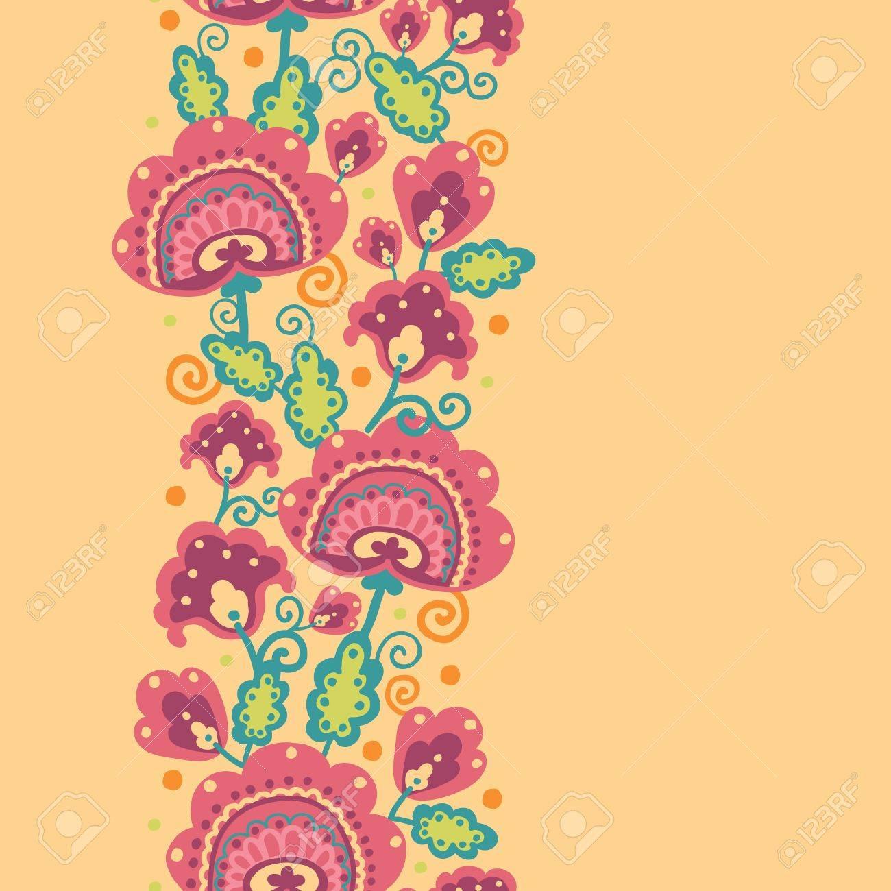 Folk Flowers Vertical Seamless Pattern Background Border Stock Vector - 16564759