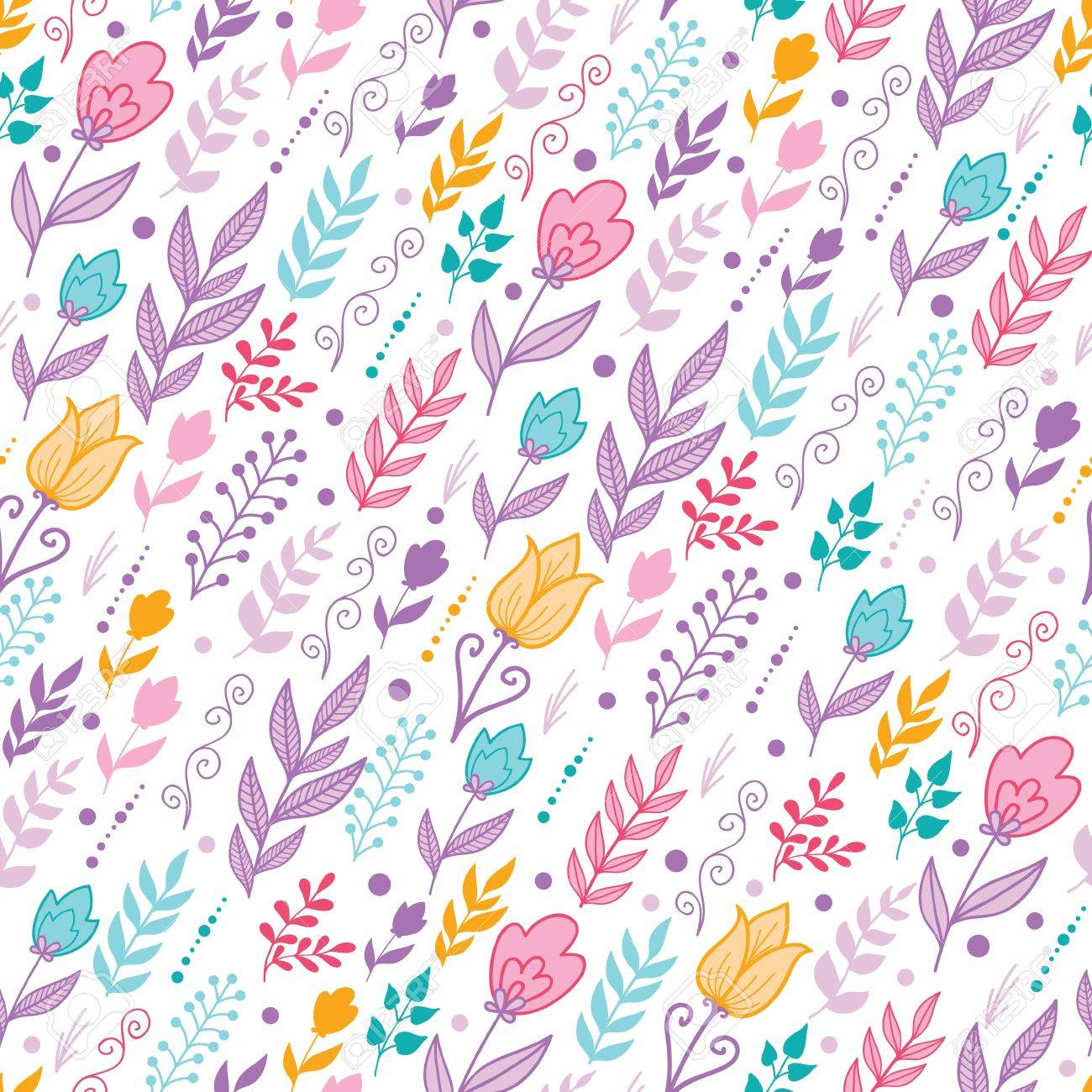 Tulip field flowers seamless pattern background Stock Vector - 16583020