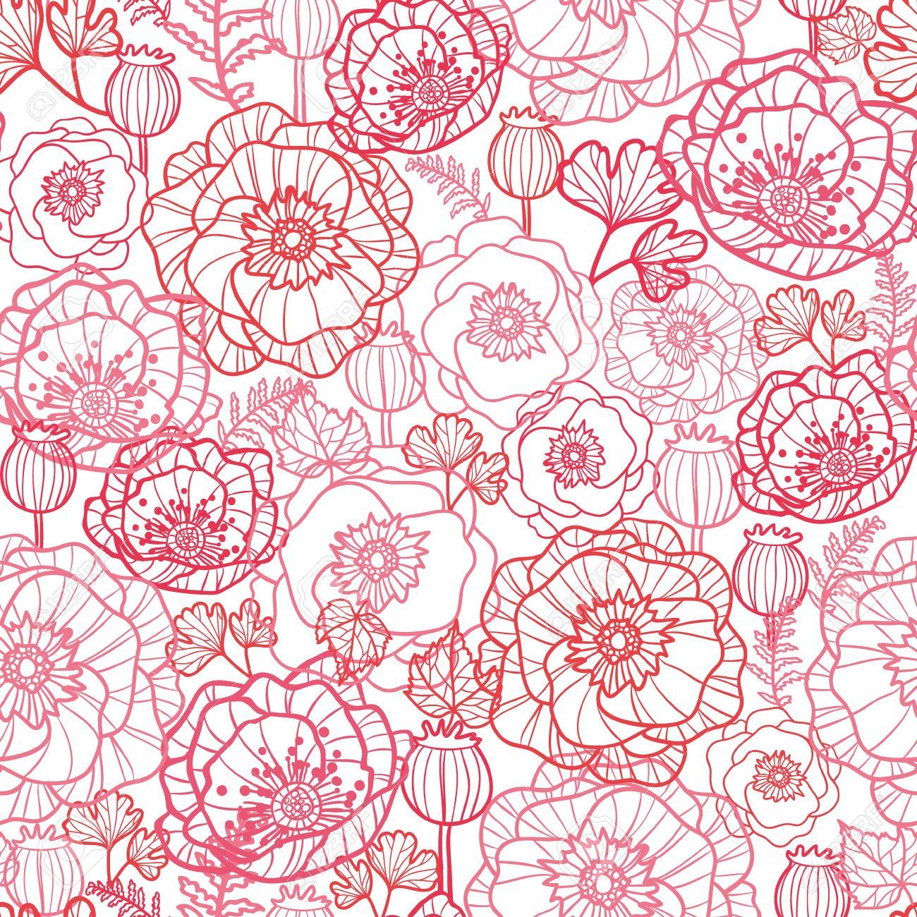 Poppy flowers line art seamless pattern background Stock Vector - 16583055