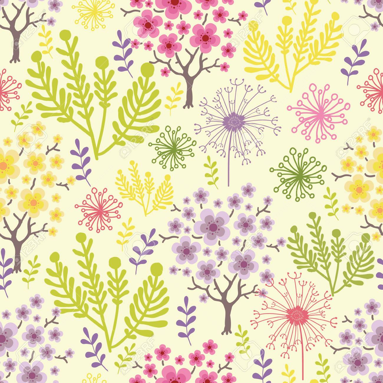Blossoming trees seamless pattern background Stock Vector - 16602325