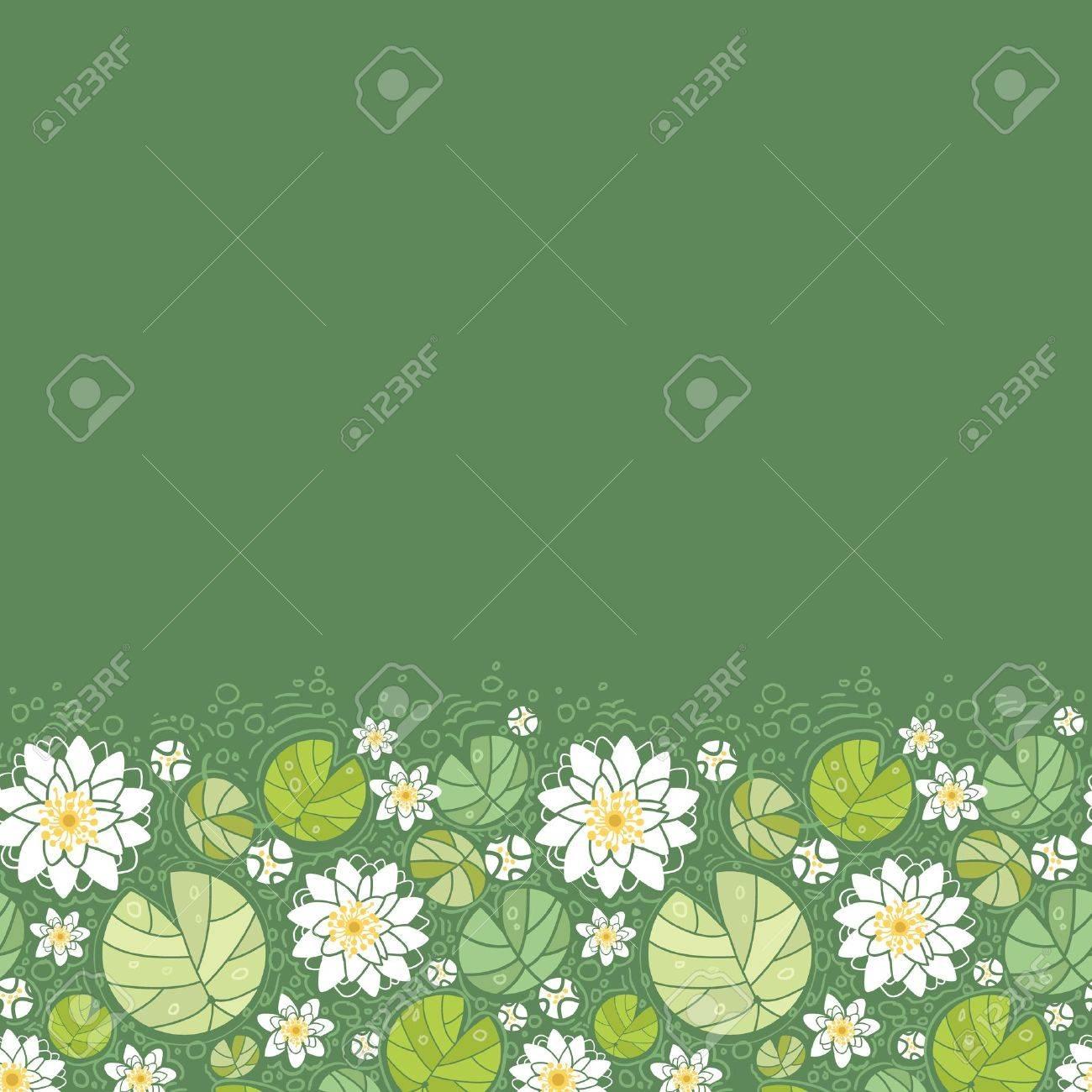 Yoga pattern background seamless pattern with five petals lotus flower - Lotus Natural Water Lillies Horizontal Seamless Pattern Background Border