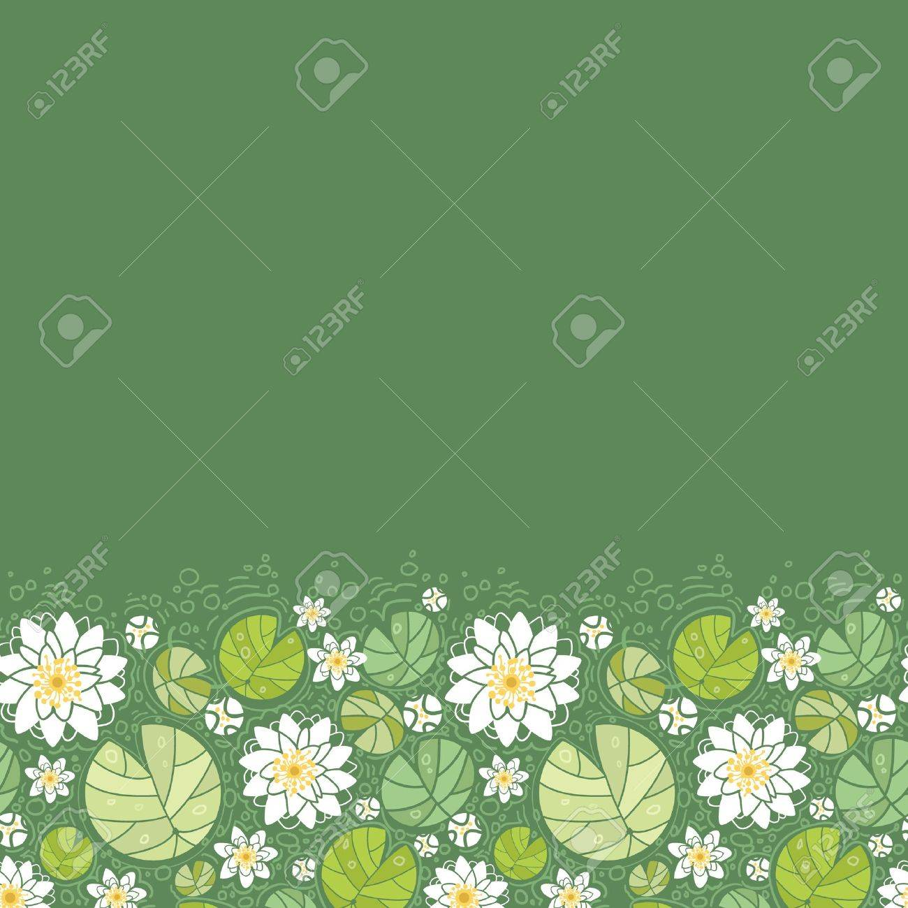 Water lillies horizontal seamless pattern background border Stock Vector - 16675683