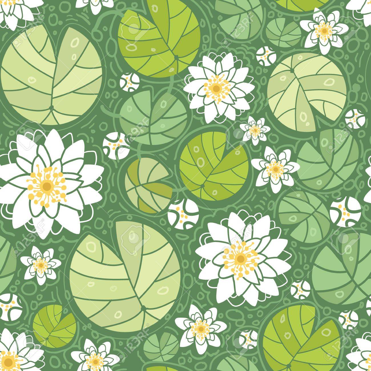 Water lillies seamless pattern background Stock Vector - 16675669