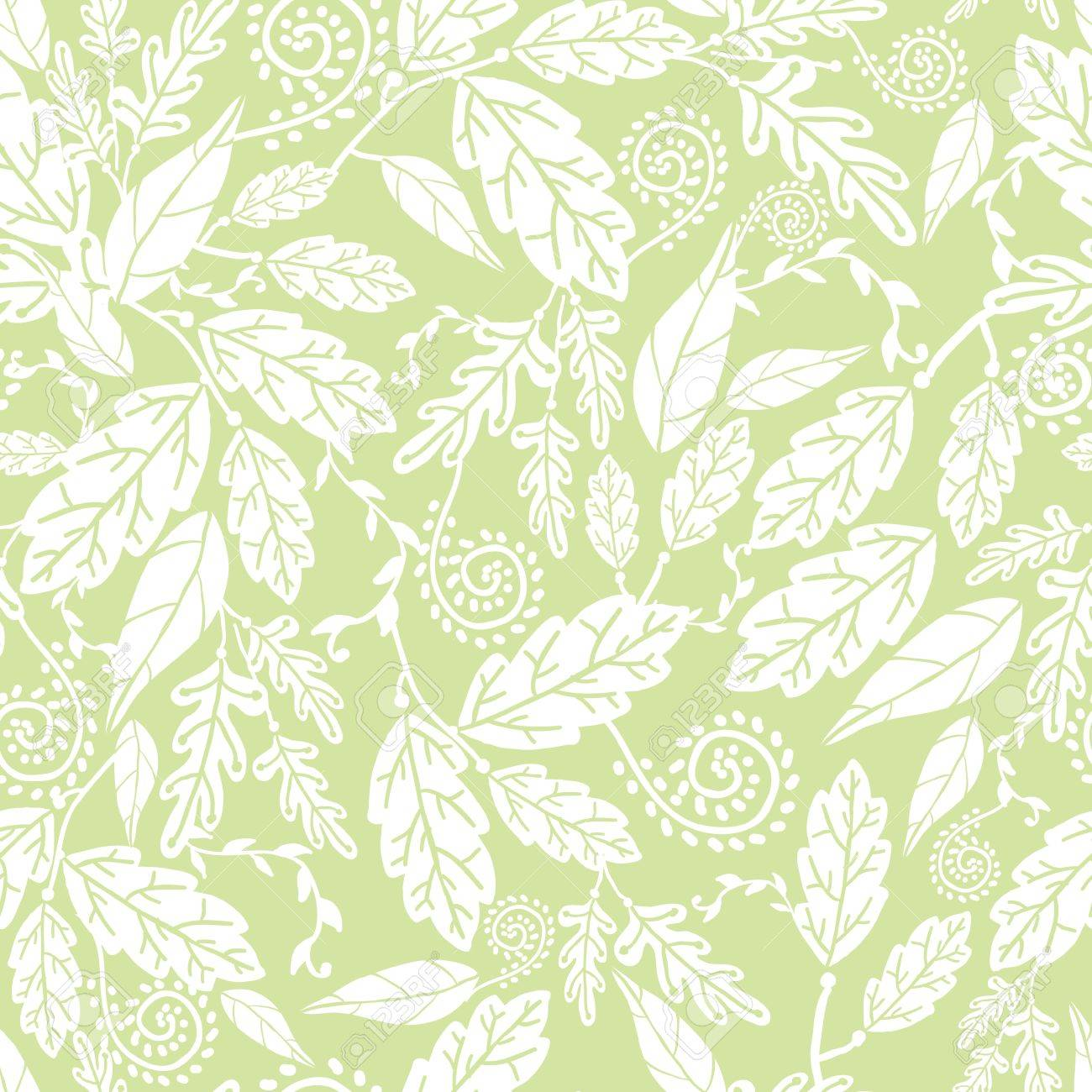 Green and white Leaves Seamless Pattern Background Stock Vector - 16675679