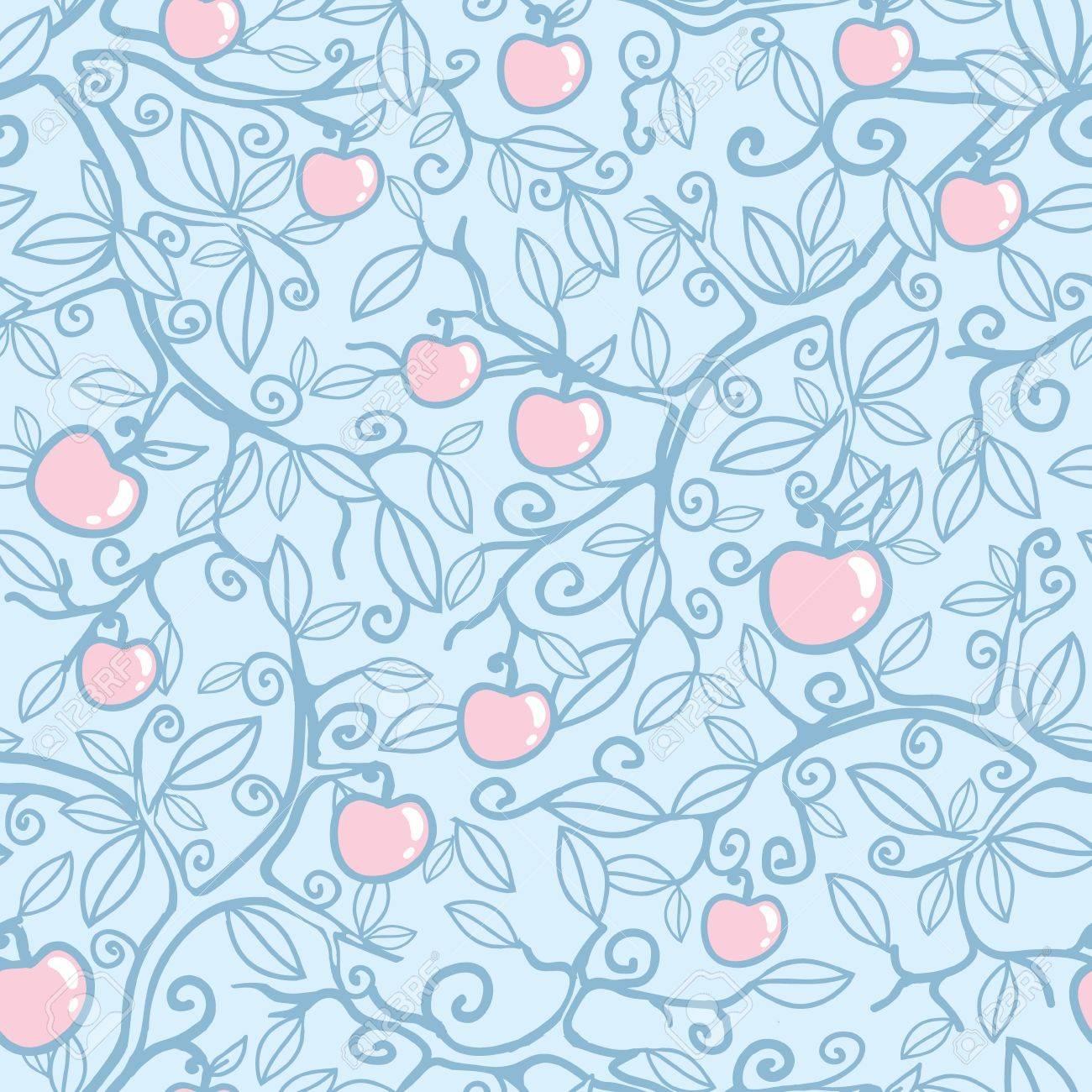 Apple tree seamless pattern background Stock Vector - 16675672