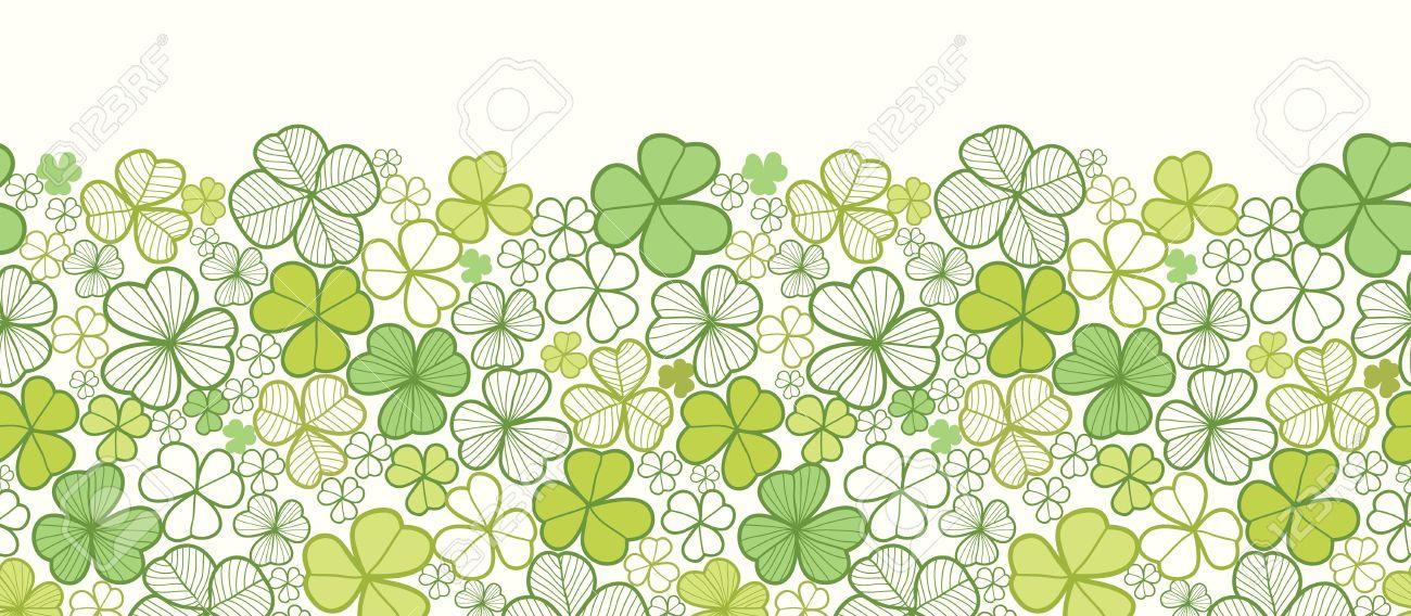 Clover line art horizontal seamless pattern background border Stock Vector - 16675670