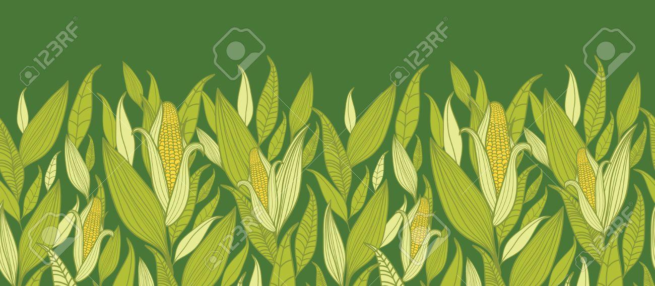 Corn plants horizontal seamless pattern background border Stock Vector - 16675738