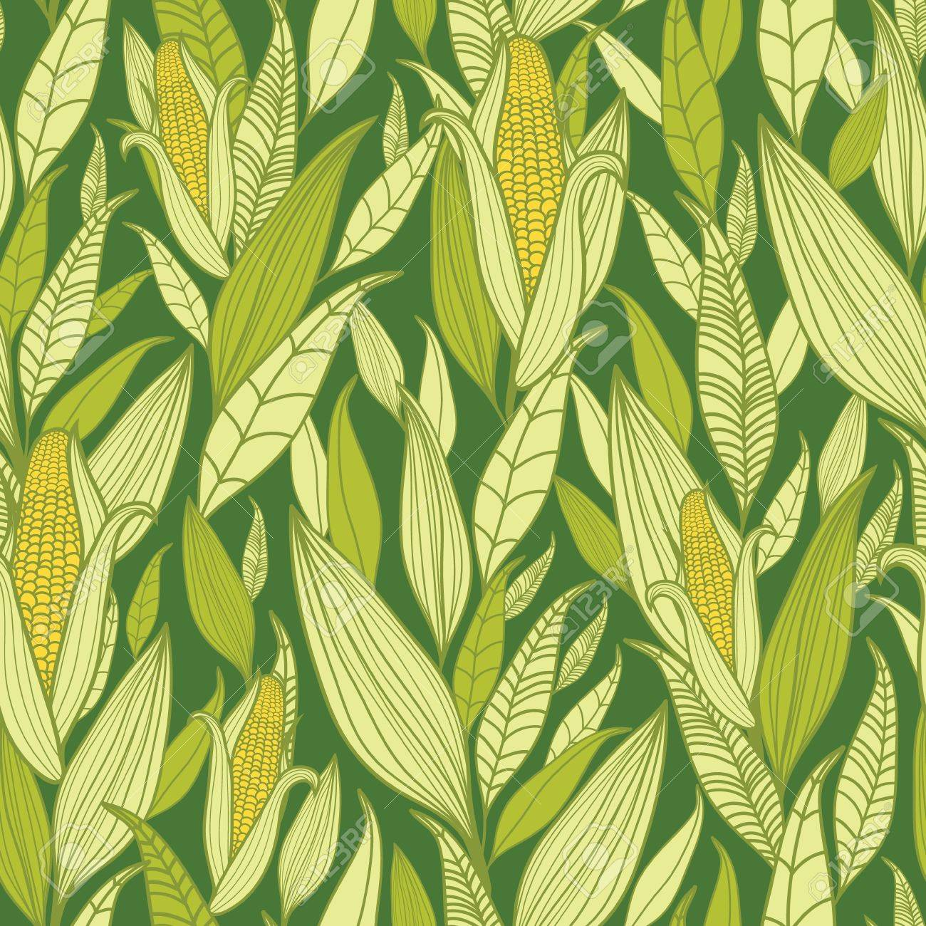 Corn plants seamless pattern background Stock Vector - 16675756