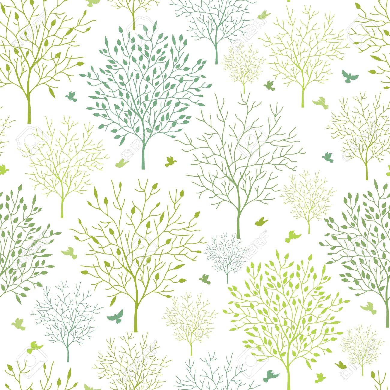 Spring trees seamless pattern background Stock Vector - 16675741