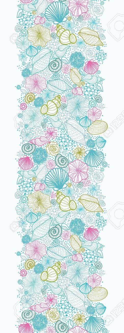 Seashells line art vertical seamless pattern background border Stock Vector - 16675761
