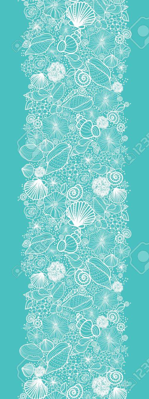 Blue seashells line art vertical seamless pattern border Stock Vector - 16675764