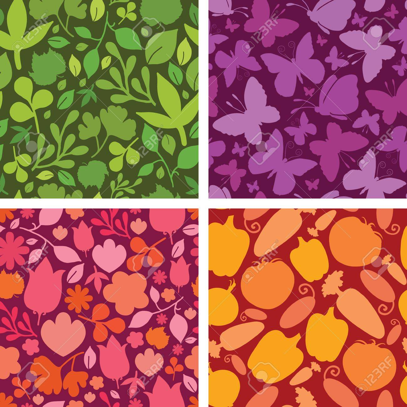 Set of four plants and butterflies seamless patterns backgrounds Stock Vector - 16732051