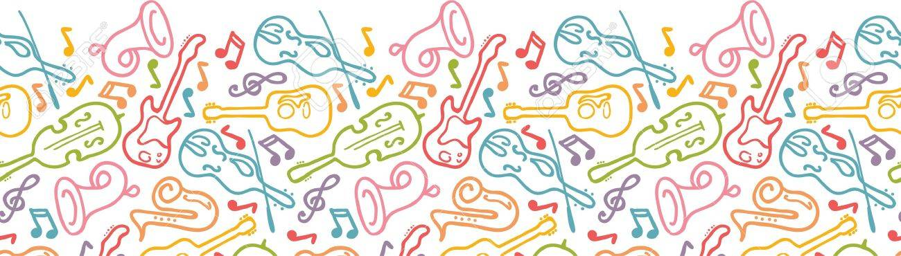 Musical instruments horizontal seamless pattern border Stock Vector - 16732037
