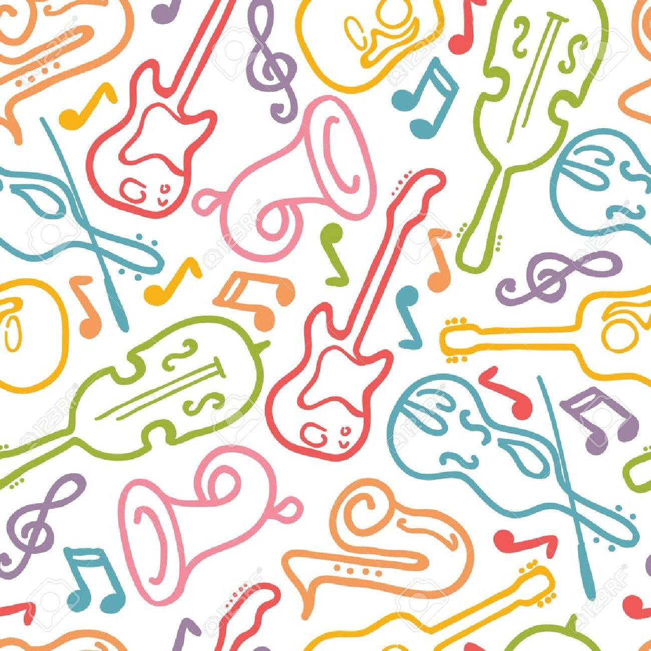 Musical instruments seamless pattern background Stock Vector - 16732032