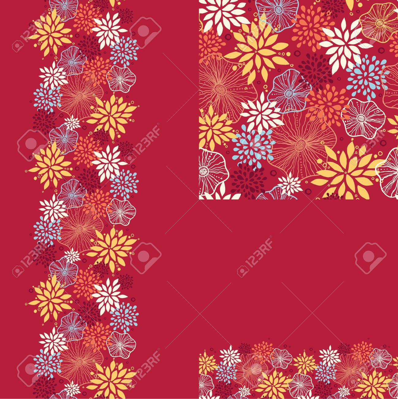 Set of vibrant plants seamless pattern and borders backgrounds Stock Vector - 16759366