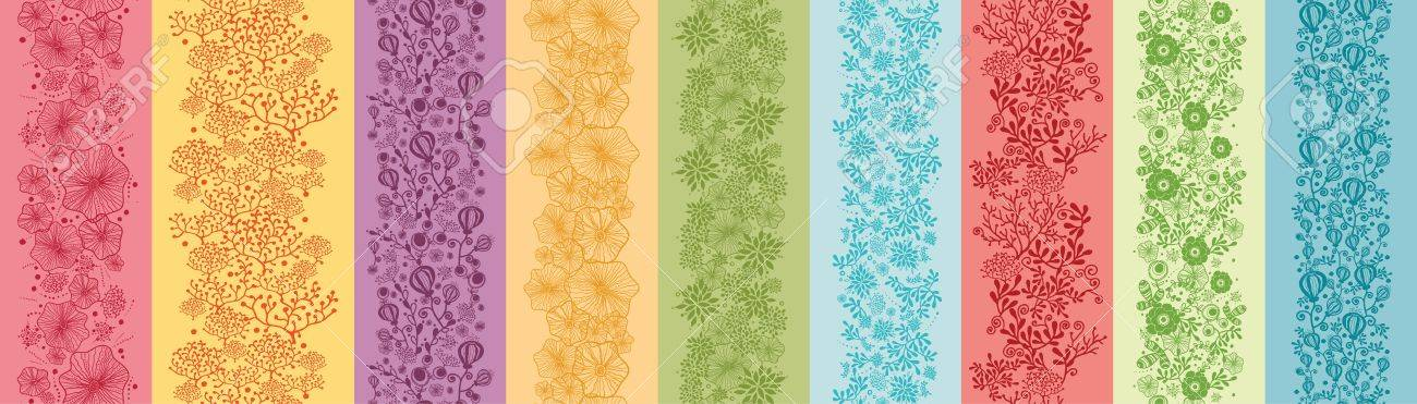 Set Of Nine Colorful Flowers Vertical Seamless Patterns Borders Stock Vector - 16820353