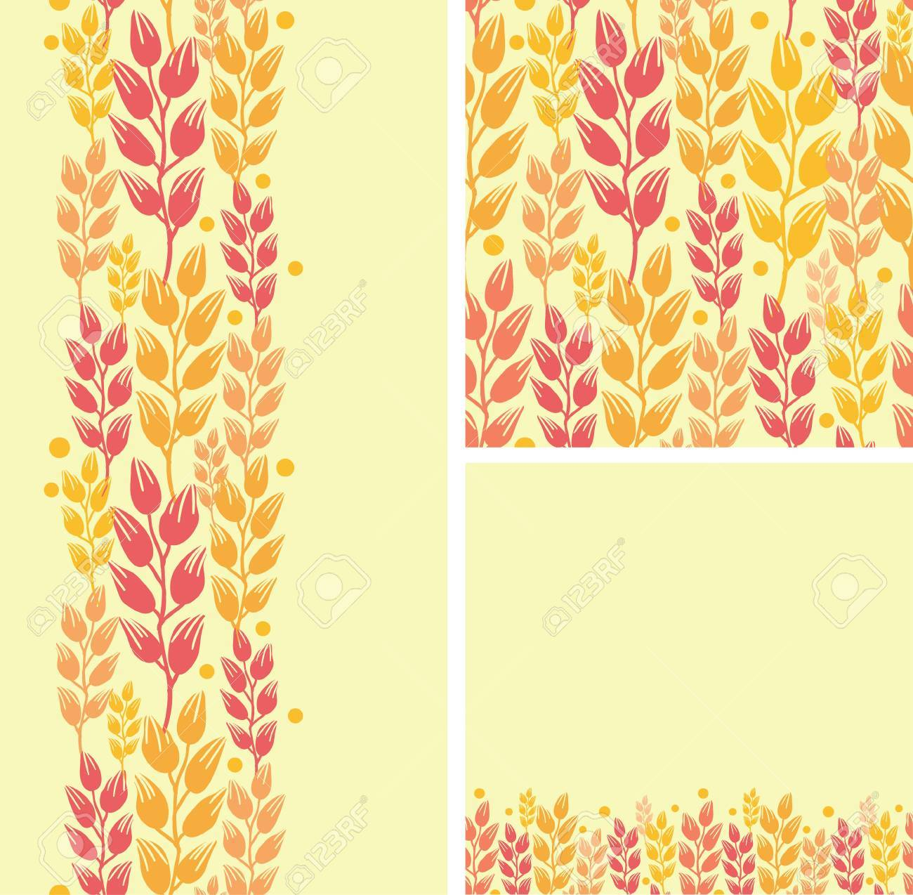 Set of wheat plants seamless pattern and borders backgrounds Stock Vector - 16820393