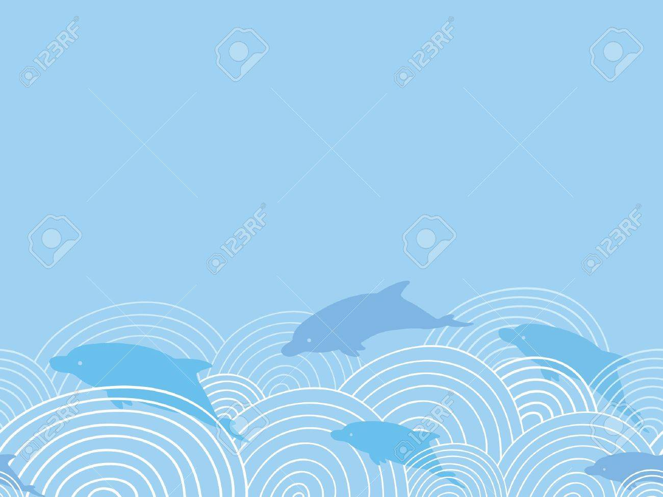 Dolphines among waves horizontal seamless pattern background Stock Vector - 16820426