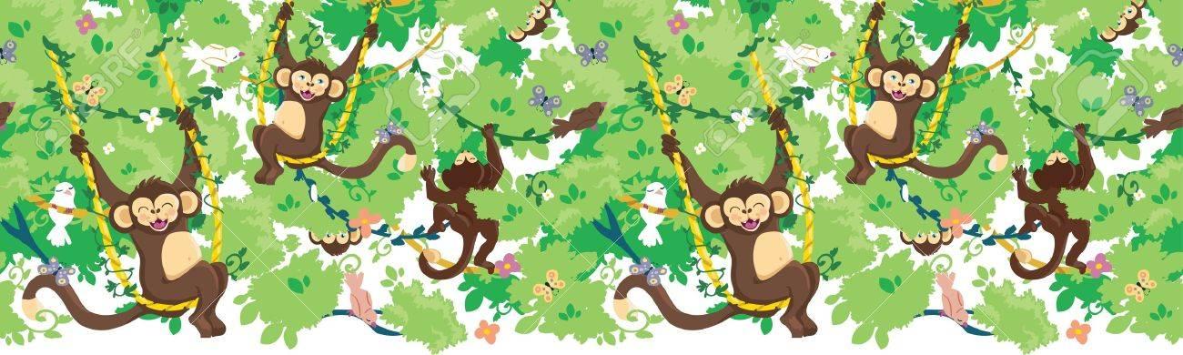 Happy monkeys horizontal seamless pattern border Stock Vector - 16820483