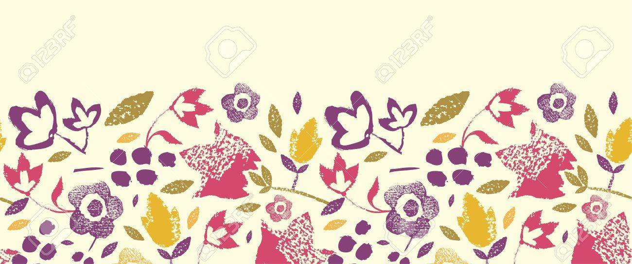 Painting Texture flowers horizontal seamless pattern border Stock Vector - 17195297