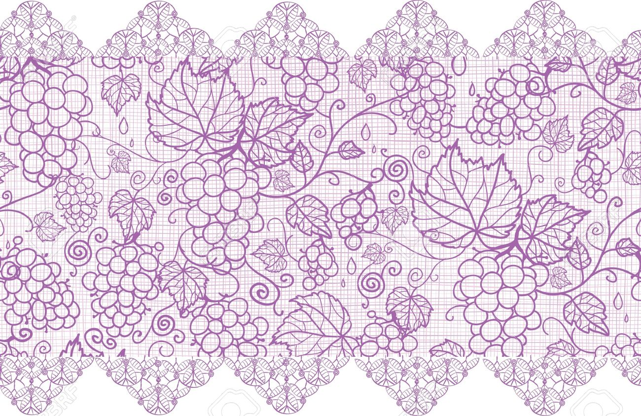 Purple lace grape vines horizontal seamless pattern background border Stock Vector - 17195305