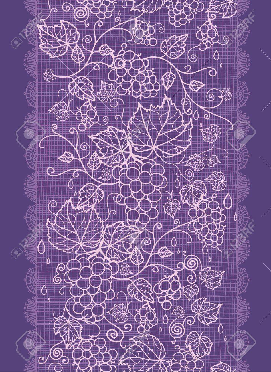 Lace grape vines vertical seamless pattern background border Stock Vector - 17195316