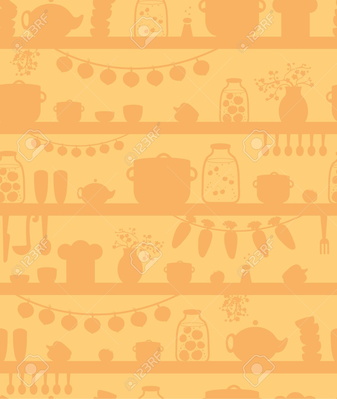 Kitchen pantry shelves seamless pattern background Stock Vector - 17195341