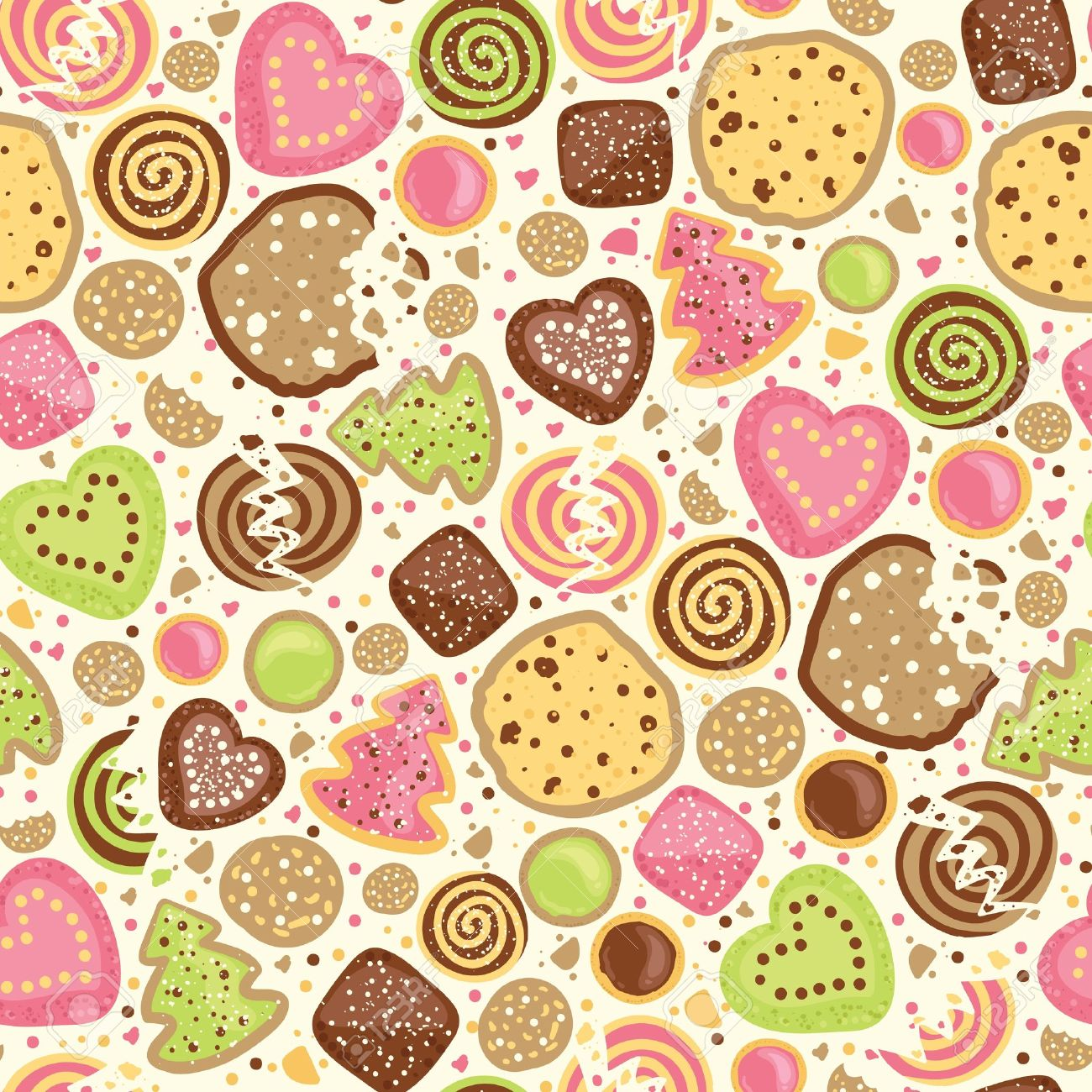 Colorful cookies seamless pattern background Stock Vector - 17195362